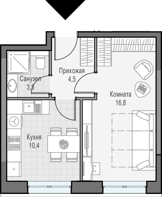 1-к.кв, 35.2 м²