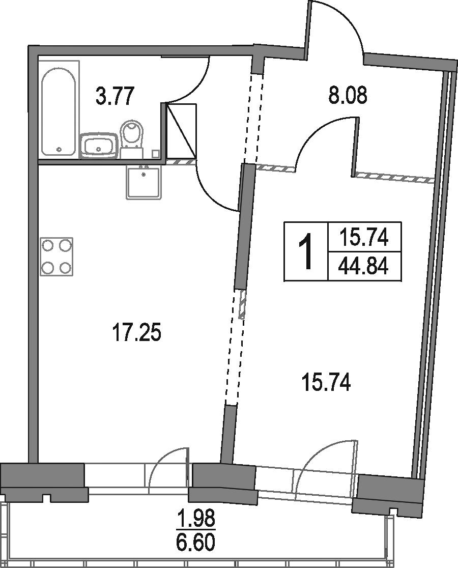 2Е-к.кв, 44.84 м², 13 этаж
