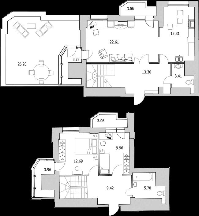 3Е-к.кв, 105.66 м²