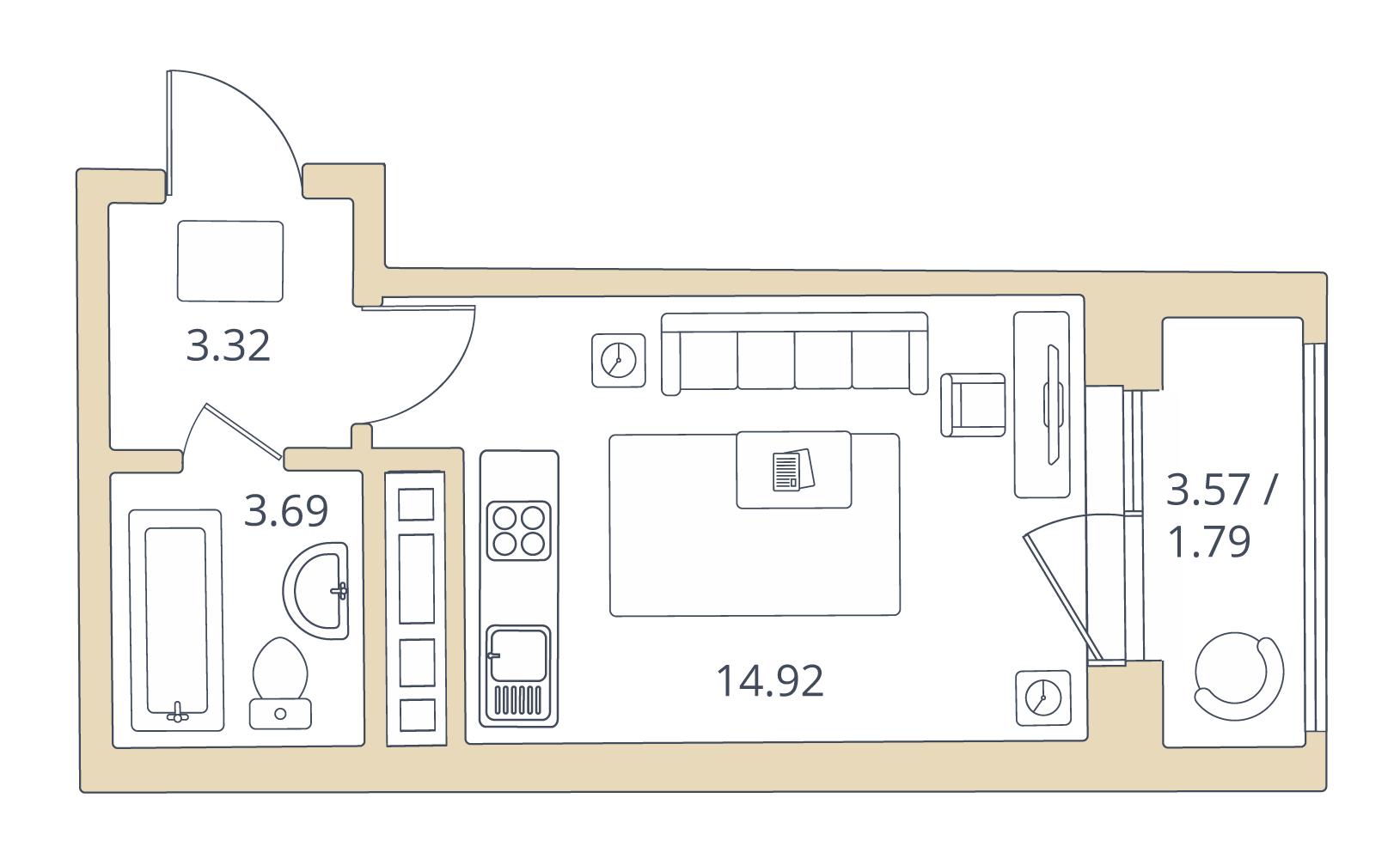 Студия, 23.72 м²– 2