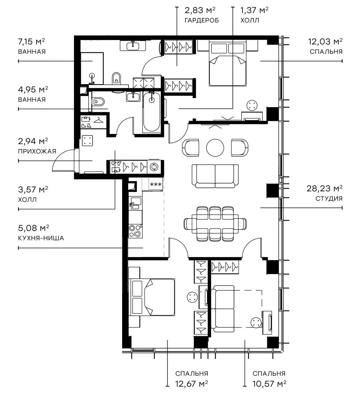 4Е-комнатная, 91.39 м²– 2