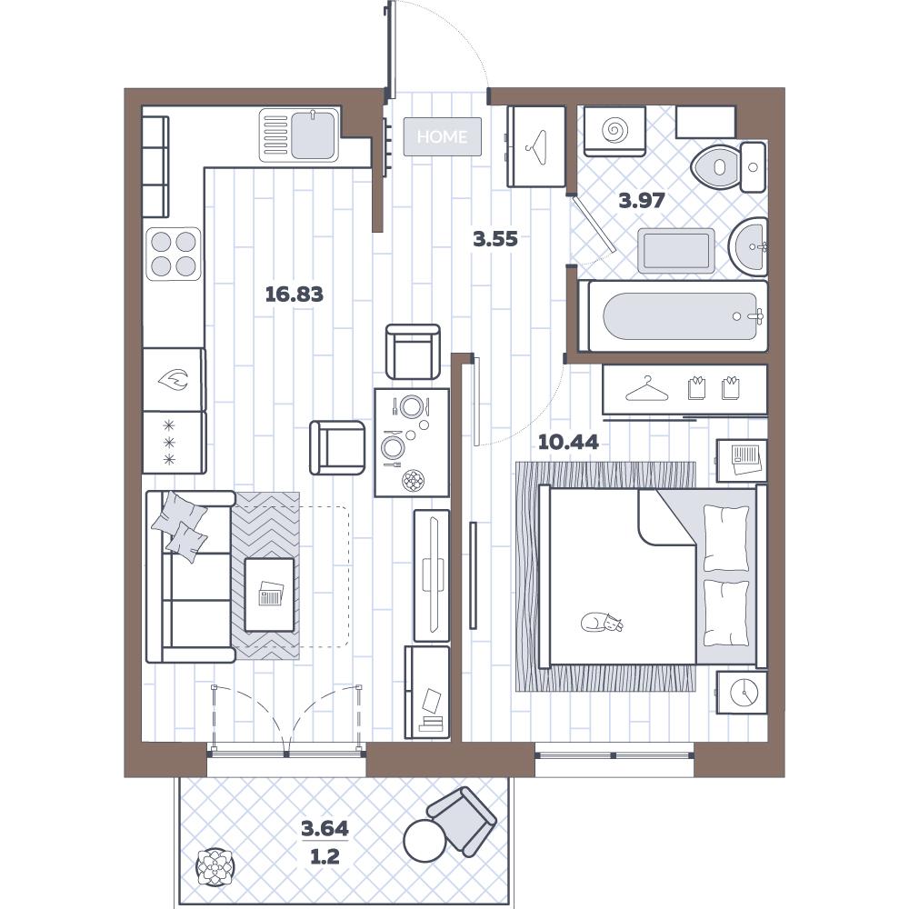 2-к.кв (евро), 38.59 м²