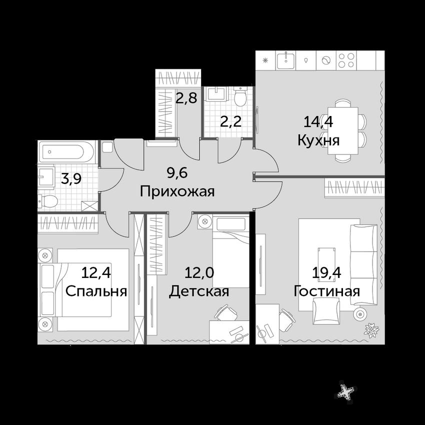 3-комнатная, 76.7 м²– 2