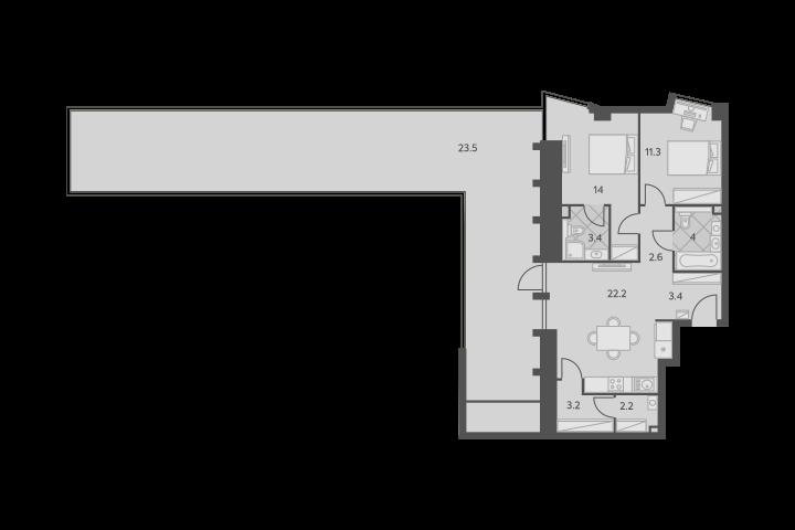 3Е-комнатная, 89.8 м²– 2