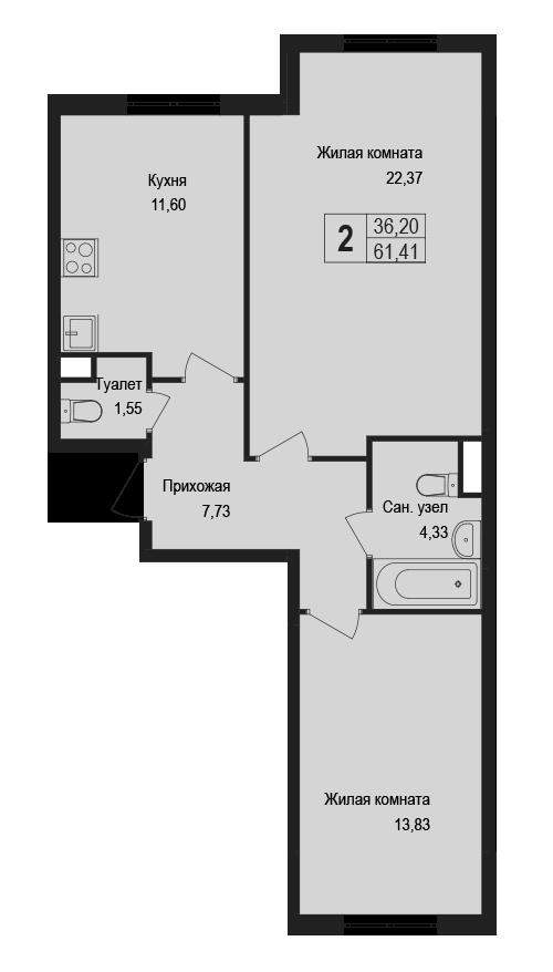 2-к.кв, 61.41 м²