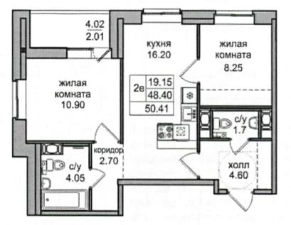 3Е-к.кв, 50.41 м²