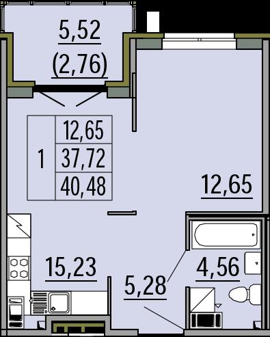 2Е-комнатная, 40.48 м²– 2