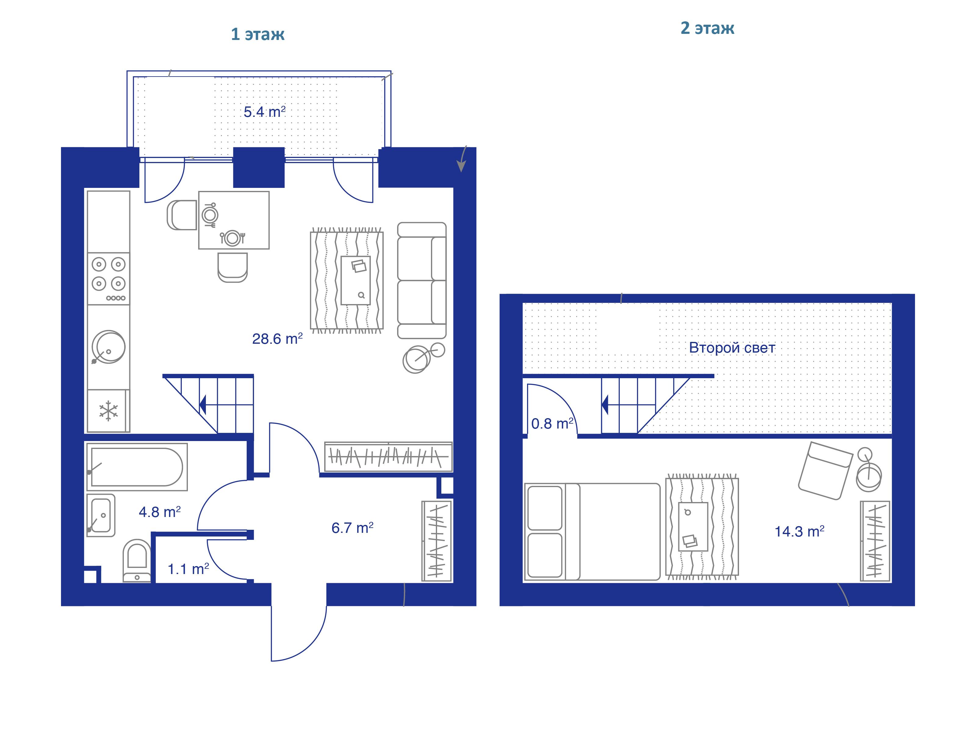 1-комнатная, 55.3 м²– 2