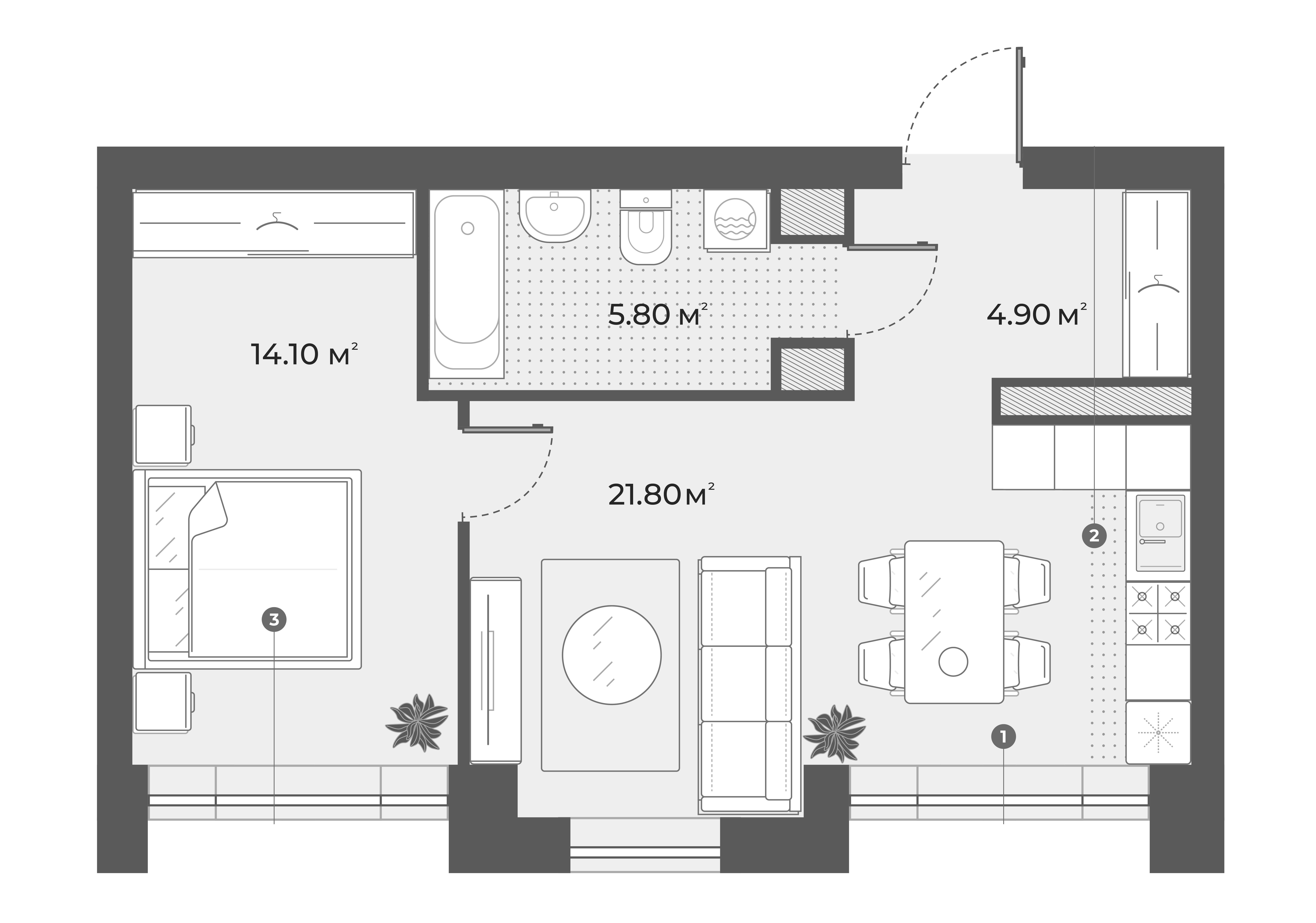 2Е-к.кв, 46.6 м², 3 этаж