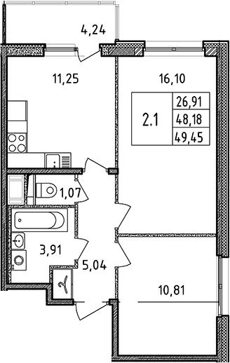 3Е-к.кв, 49.45 м²