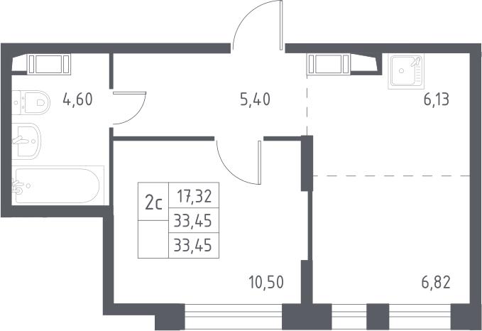 2Е-к.кв, 33.45 м², 16 этаж