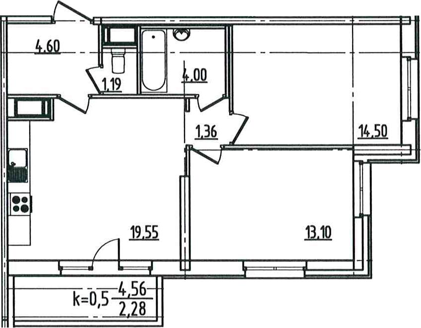 3Е-к.кв, 60.58 м², 11 этаж