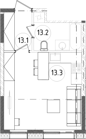 Студия, 27.34 м²– 2