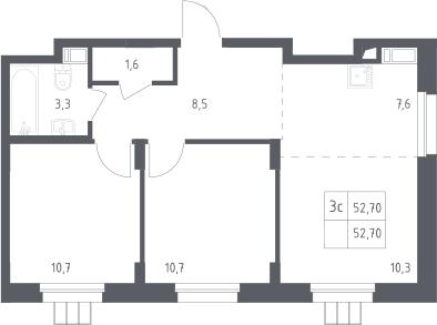 3Е-к.кв, 52.7 м², от 12 этажа