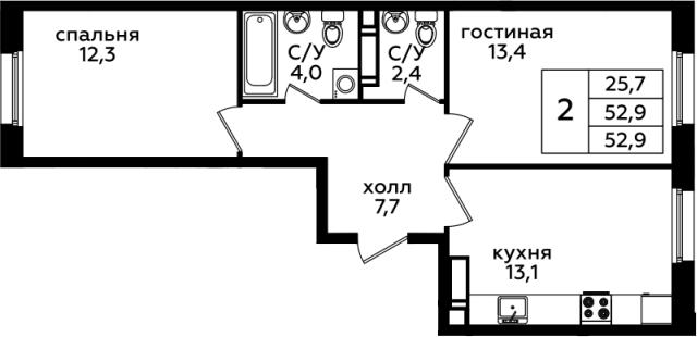 2-комнатная, 52.9 м²– 2