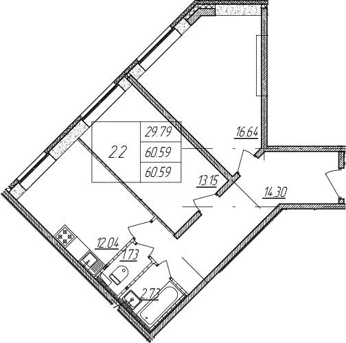 2-к.кв, 60.59 м²