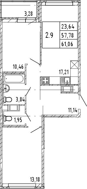 3Е-комнатная квартира, 57.78 м², 15 этаж – Планировка