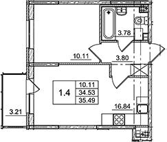 2Е-комнатная, 35.49 м²– 2