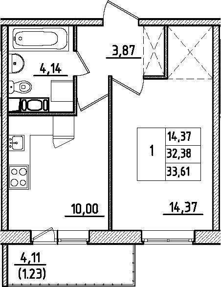 1-к.кв, 36.48 м²