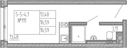 Студия, 16.59 м²– 2