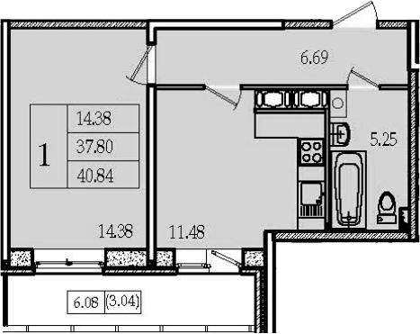 1-к.кв, 40.84 м²