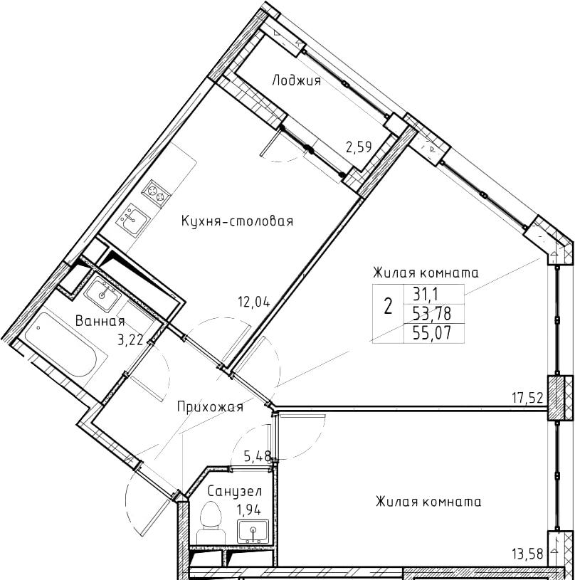2-к.кв, 55.07 м², от 9 этажа