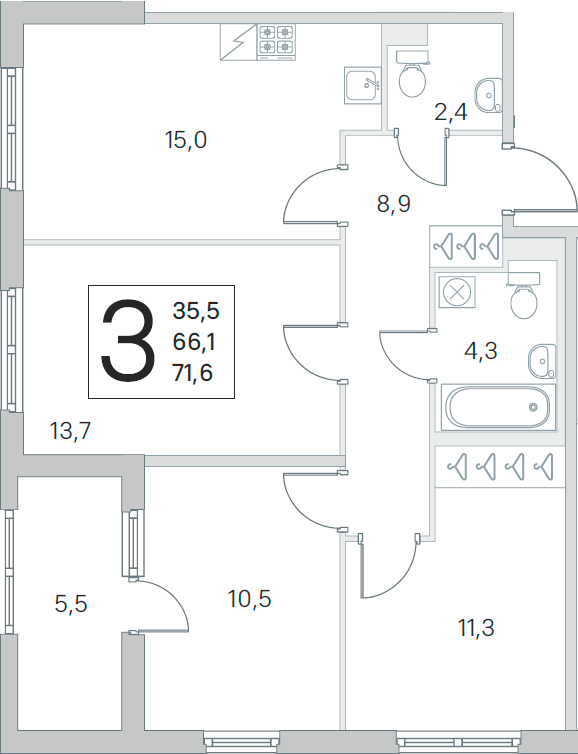 4Е-к.кв, 66.1 м², от 1 этажа