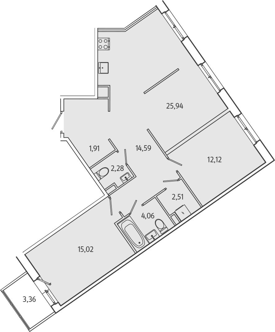 3Е-к.кв, 80.11 м², 1 этаж