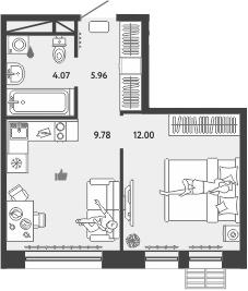 2-к.кв (евро), 31.81 м²