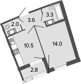 1-к.кв, 33.4 м², 16 этаж
