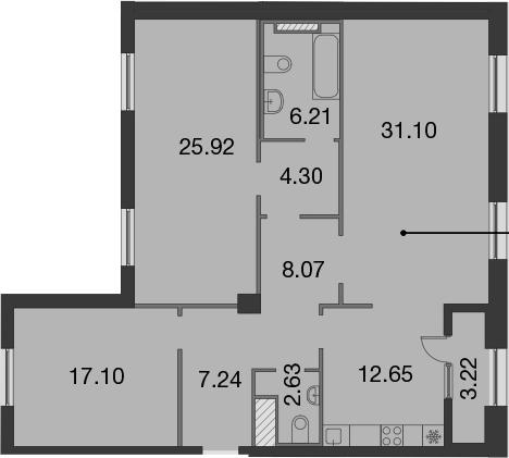 3-к.кв, 116.83 м², 8 этаж