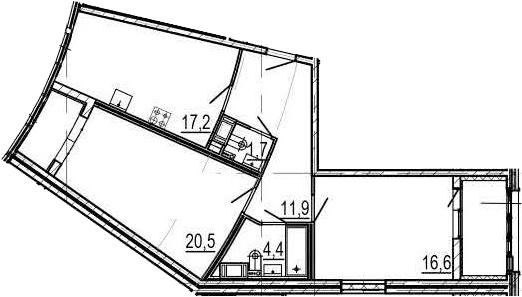 3Е-к.кв, 76.3 м², 5 этаж