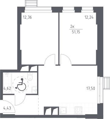 3Е-комнатная квартира, 51.15 м², 16 этаж – Планировка