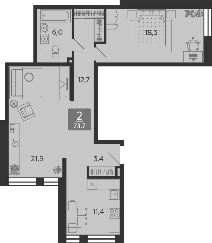 2-к.кв, 73.7 м²