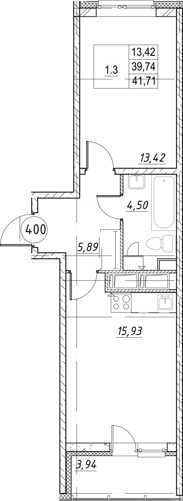 1-комнатная, 41.71 м²– 2