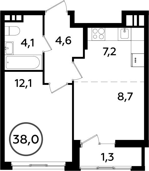 2Е-к.кв, 38 м², 9 этаж