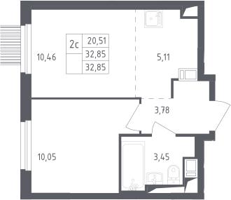 2-к.кв (евро), 32.85 м²