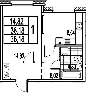 1-к.кв, 36.18 м²