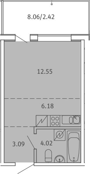 Студия, 28.26 м², 5 этаж