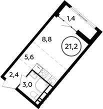 Студия, 21.2 м²– 2