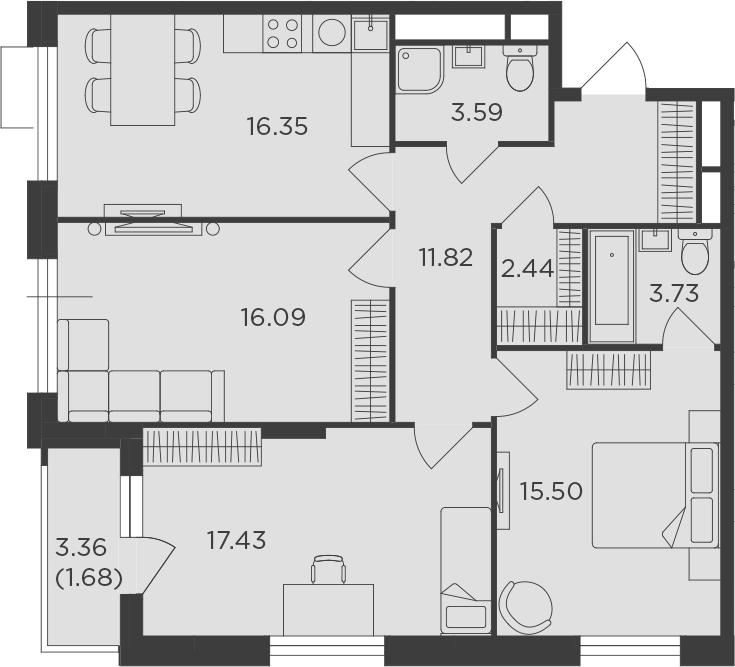 3-к.кв, 88.63 м²