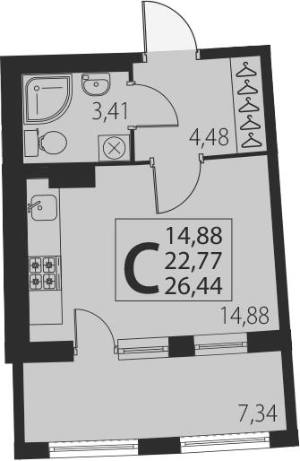 Студия, 26.44 м²