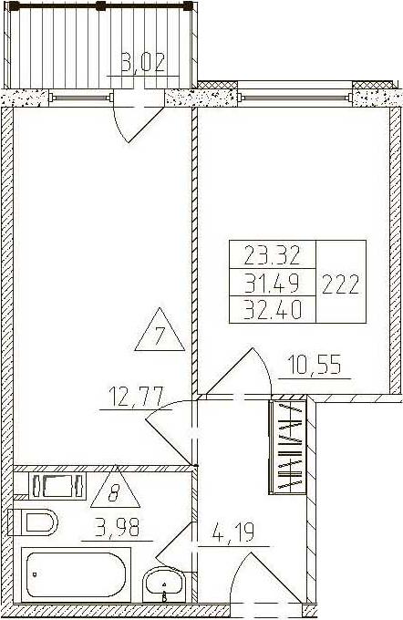 1-к.кв, 34.51 м²