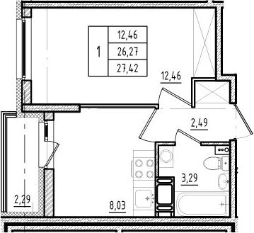 1-комнатная квартира, 26.27 м², 2 этаж – Планировка