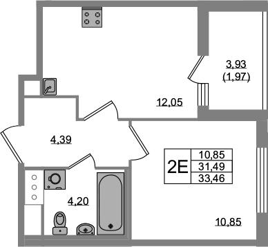 2-к.кв (евро), 35.43 м²