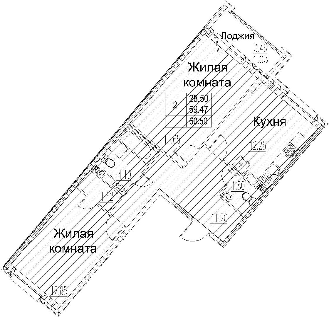 2-к.кв, 60.5 м²