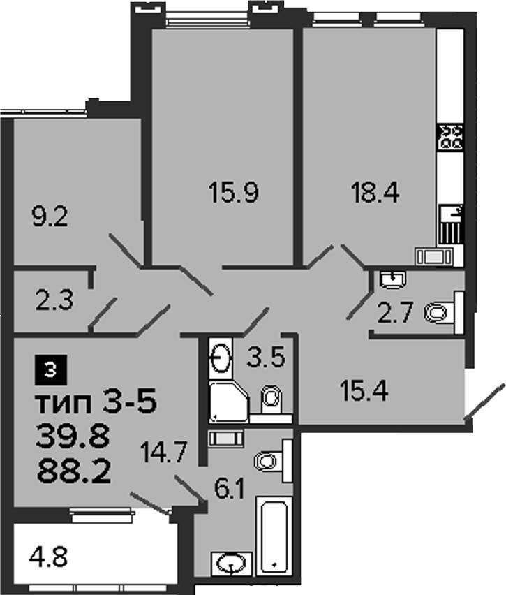 3-комнатная, 88.2 м²– 2
