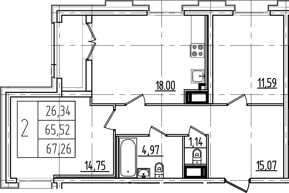 3Е-к.кв, 67.26 м²