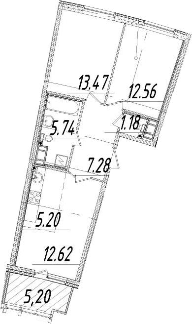 3Е-комнатная, 60.65 м²– 2