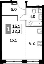 Студия, 32.3 м²– 2